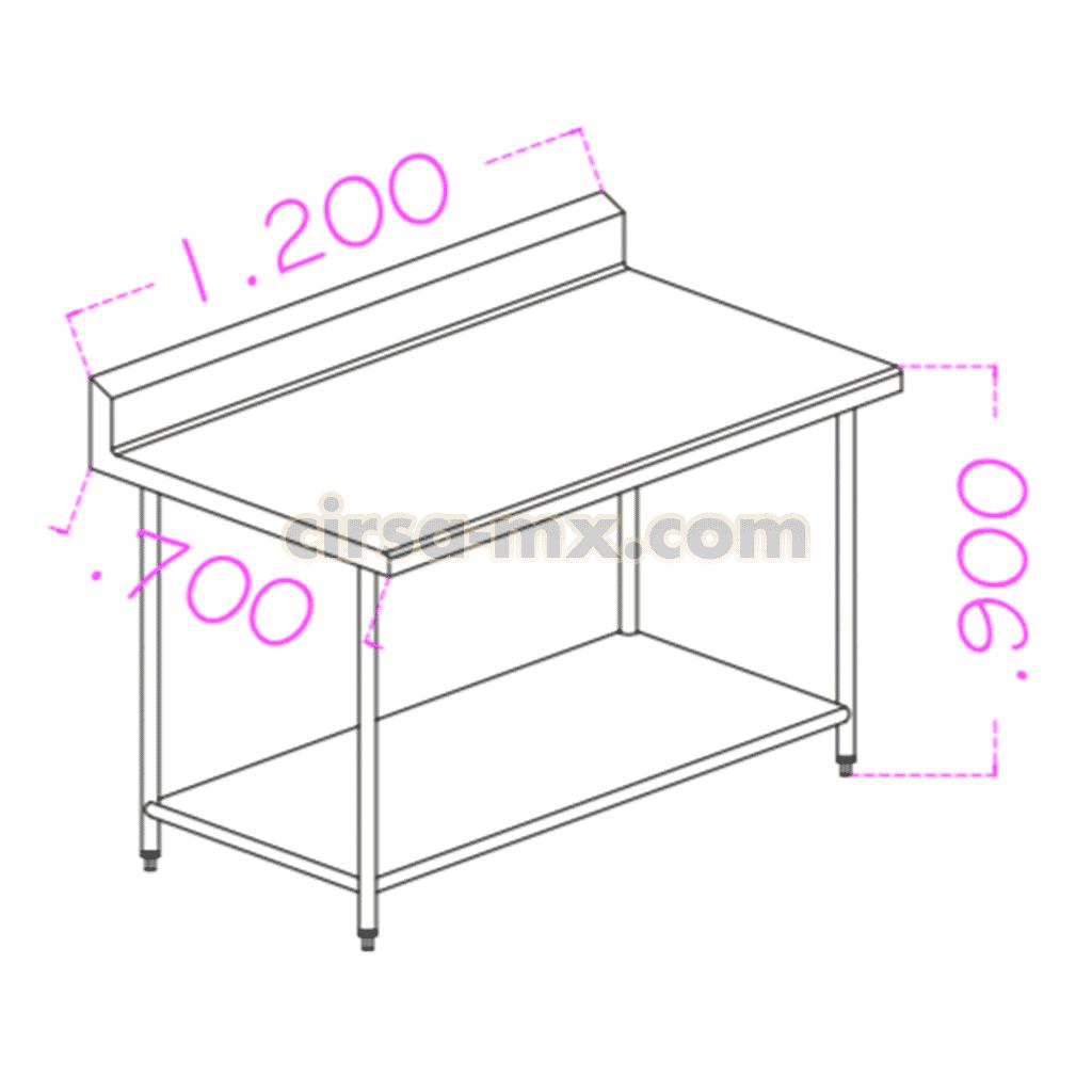 Mesa con entrepaño de acero inoxidable 1.20 m