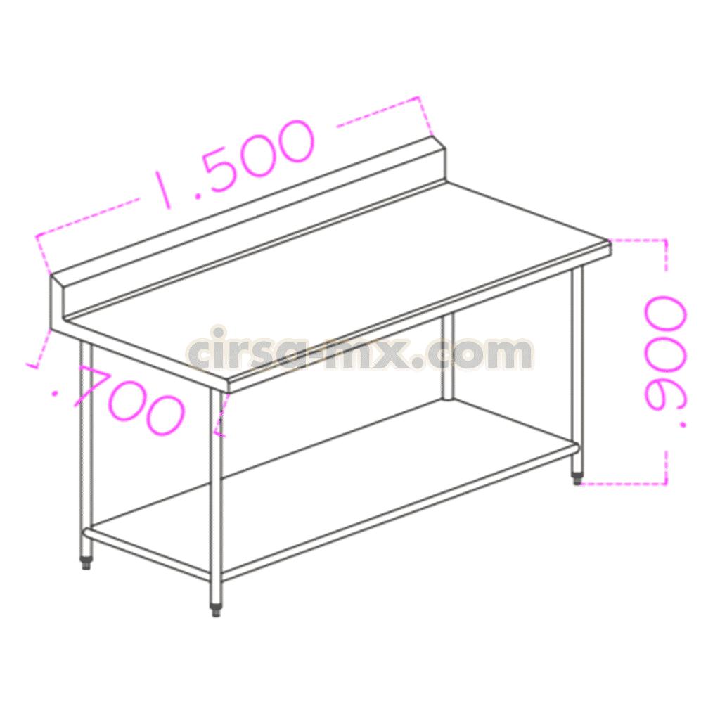 Mesa con entrepaño de acero inoxidable 1.50 m