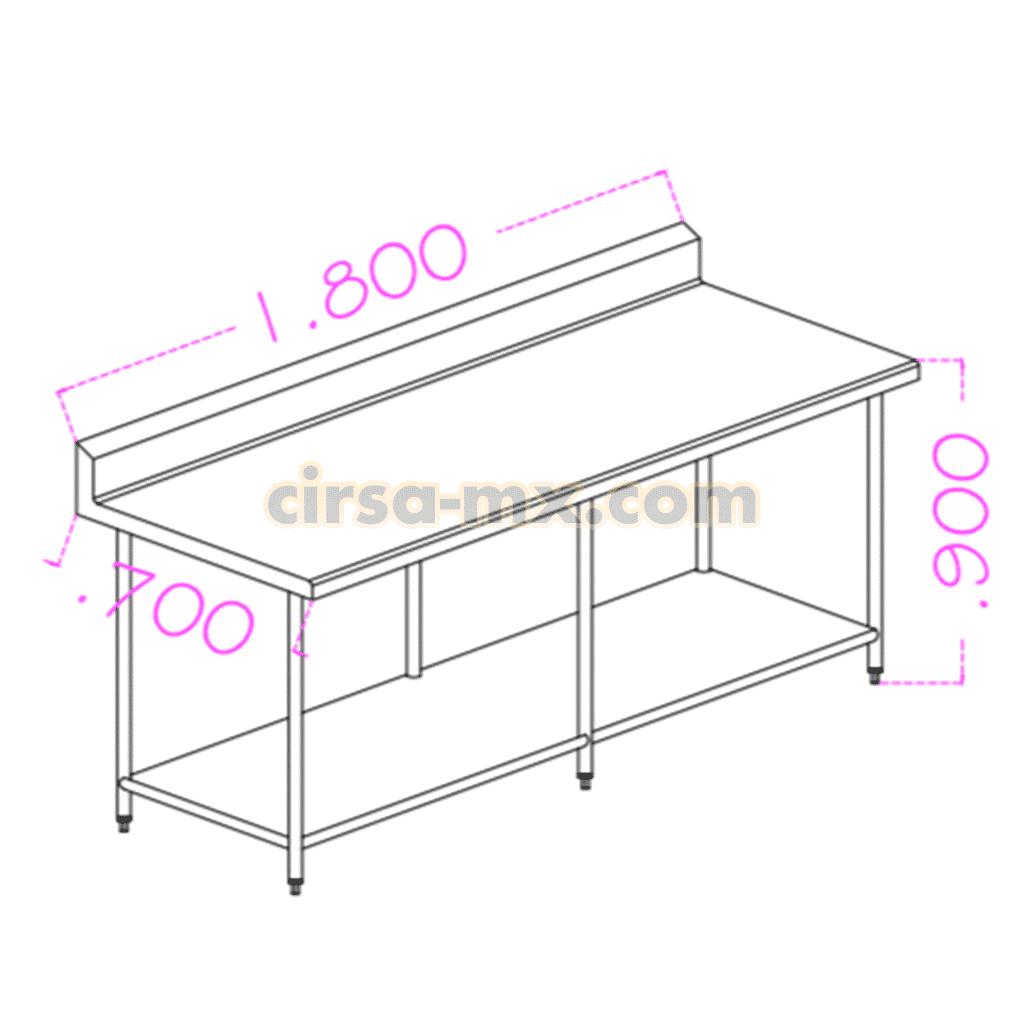 Mesa con entrepaño de acero inoxidable 1.80 m