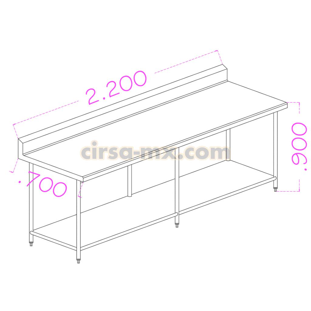 Mesa con entrepaño de acero inoxidable 2.20 m