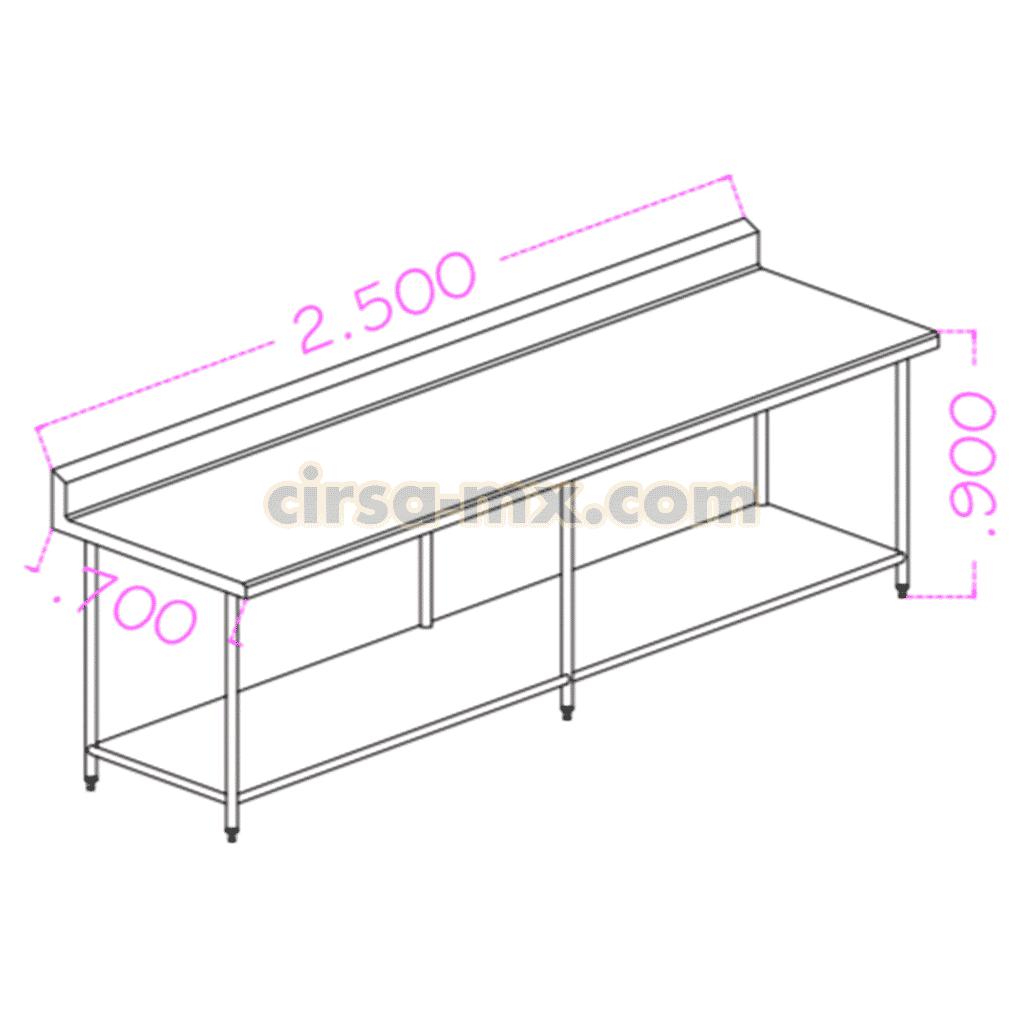 Mesa con entrepaño de acero inoxidable 2.50 m