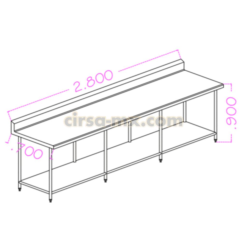 Mesa con entrepaño de acero inoxidable 2.80 m