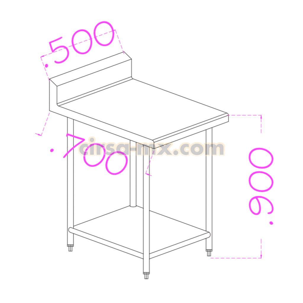 Mesa con entrepaño de acero inoxidable 0.50 m