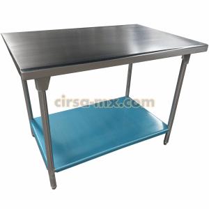 mesa de trabajo en isla con entrepaño de acero inoxidable